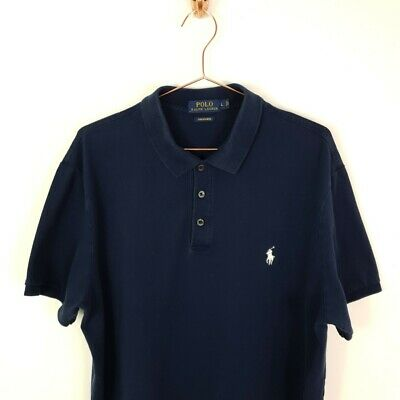 Mens Polo by Ralph Lauren Designer Navy Short Sleeved Polo T Shirt Top Large