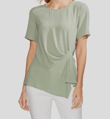 $120 Vince Camuto Womens Green Side Pleated Casual Short Sleeve Top Size large