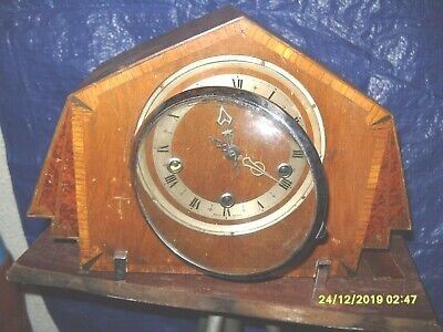 Clock Parts Mantel  Clock Art  Deco Style For Spares Only  But Ticking  Pendulum