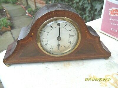 mantel clock WORKING  CLOCK WOODEN CASED  WITH INLAY KEY WOUND