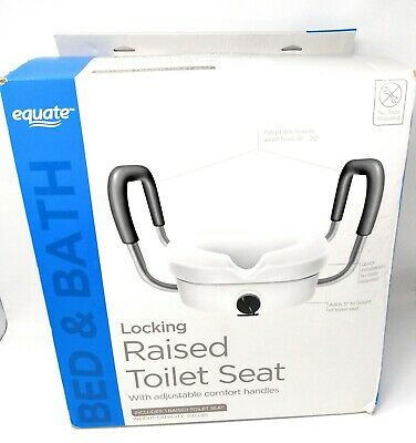 Equate Raised Toilet Seat with Handles Toilet Seat Riser - White