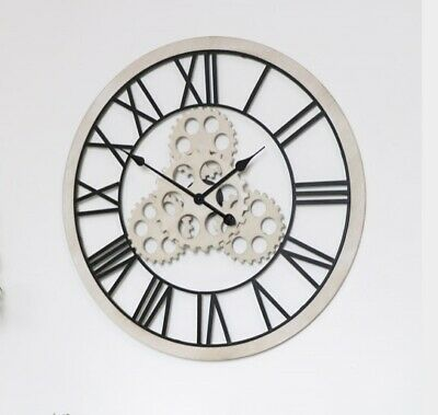 70cm Large Wood & Metal Round Gears Skeleton Wall Clock Roman Numeral