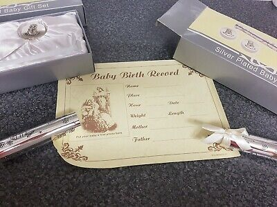 Silver Plated Baby Gift Set First Tooth Curl Birth Certificate