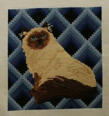 Persian Siamese Cat Blue Bargello Design Cross Stitch Complete Finished
