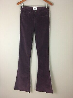 Paige Women's Purple Corduroy Flare Jeans Pants Sz 26 Stretch Made in USA NWOT