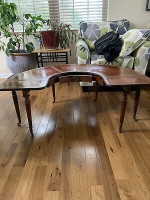 Vintage Lammerts mahogany leather top coffee table with folding leafs