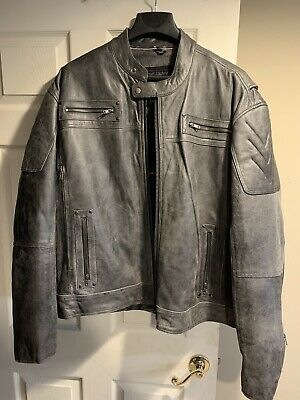 Men's Distressed Gray Padded/ Vented Leather Scooter Jacket 5XL