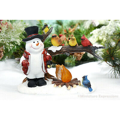 """4/"""" CHRISTMAS CREATIONS RESIN TABLETOP BLUE /& WHITE SNOWMAN W// LET IT SNOW HEART"""