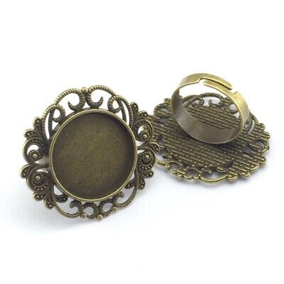 5pcs Ring Settings Antique Bronze Copper Plated 20mm Round Glass Cabochon Base