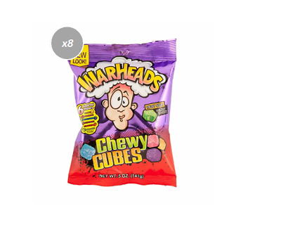 908612 8 x 141g BAGS OF WARHEADS CHEWY CUBES MILDLY SOUR WILDLY SWEET FRUIT FLAV