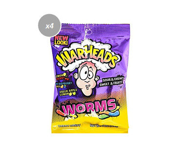 908189 4 x 142g BAGS WARHEADS SOUR WORMS FRUIT FLAVOR SOUR CHEWY SWEET GUMMIES