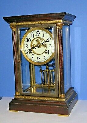 Antique Waterbury 8Day Chime Clock Crystal Regulator Mahogany Top Open Esc As-Is