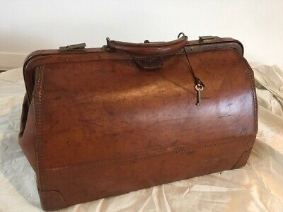 1930s Antique Large Brown Leather Doctor's Medical Bag HENRY LIKLY w/ Key+brass