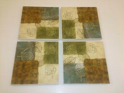 """3.75/"""" Wine and Bread Design Naturally Absorbent Stone Beverage Coaster Set of 4"""