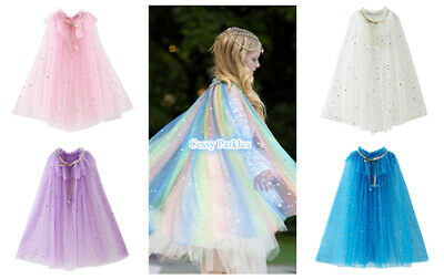 CB-1 Girls Fairytale Princess Costume Accessory Sparkling Mesh Capes 6 Colours
