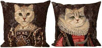 "Set Of 2 Cat With Crown 18"" X 18"" Belgian Tapestry Cushion Covers, 3040B & 3041C"