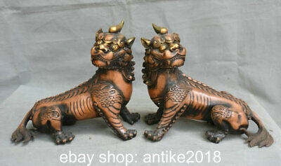 """9.6"""" Old Chinese Copper Feng Shui Foo Dog Lion Unicorn Luck Statue Pair"""