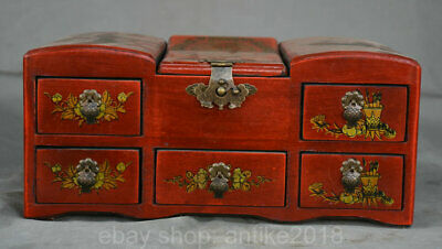 12 inch Old China Red Lacquerware Palace Dragon Mirror Drawer Jewelry Box