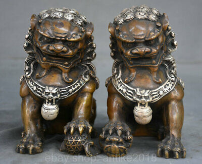 """6.4""""Marked Old China Bronze Silver Fengshui Foo Fu Dog Guardion Lion Pair Statue"""