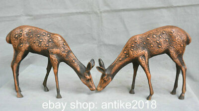 """10.4"""" Old Chinese Copper Feng Shui Wild Sika Deer Animal Sculpture Pair"""