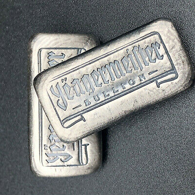 1 Oz  Yeagermeister Castbar - Yeager Poured Silver - 999 Fine Silver Bullion #27