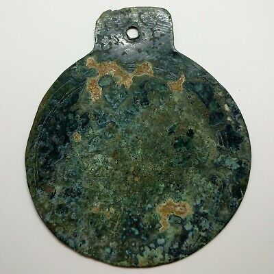 Bronze Mirror  Ornament Solar sign  300-100BC. Scythian Celtic / Coin