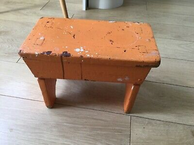 Vintage Stool Rustic Authentically Shabby Chic orange paint  prop, display,use