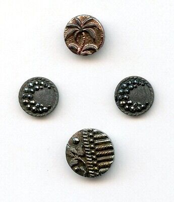 4 SMALL BLACK GLASS buttons--TINTED PALM TREE--2 w/CRESCENT MOON--1 w/IVY