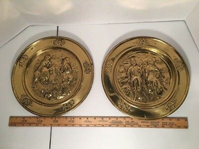 "Brass Charger Plates Repousse Wall Hanging England Shamrock Farmer 12"" Vintage"