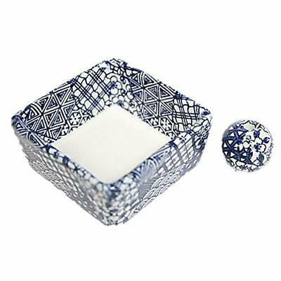 ACSWEBSHOP Monochromatic Blue Square Type Incense Holder Ceramic Made in Japan