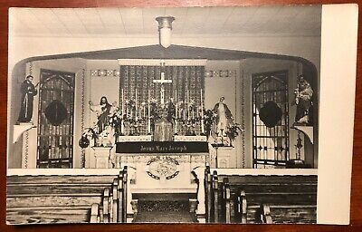 Interior unknown small Catholic Church Main Altar Pews Statuary Stained Glass