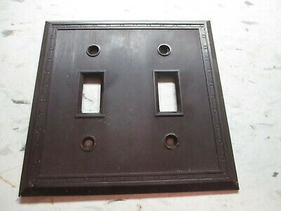 Sem 1802 USA 2-Gang Switch Plate Wall Cover Dots Lines Brown Bakelite Antique