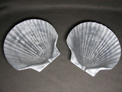 """Vintage PAIR Wilton Armetale RWP Pewter 5"""" Clam Shell Ashtray Candy Dish"""