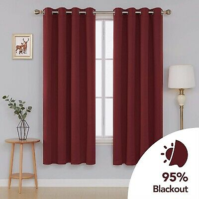 "Deconovo Eyelet Curtains Thermal Insulated Blackout Curtains  52""x 84"""