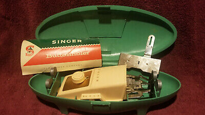Vintage Singer Sewing Machine Buttonhole Attachment W Green Clamshell Case 1960