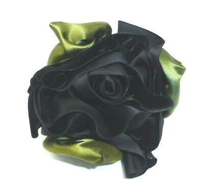 Large Black / Green Satin Fabric Rose Flower Pin Brooch Pretty Goth NEW NWOT