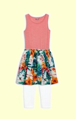 NEXT Girls Flamingo Dress & Leggings Set Age 6 Years Tropical Summer Outfit NEW