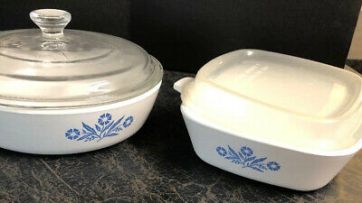 Corning Ware Blue Cornflower Petite Pan 2 P-41 and 1 P-83-B Skillet with lid