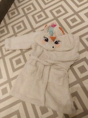 BNWT Nutmeg Girls Sparkly Unicorn Hooded Fleece Dressing Gown. Age 4-5 Years