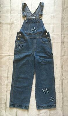 Vintage Denim Cropped Embroidered Beaded Butterflies Dungarees Festival 12 1990s