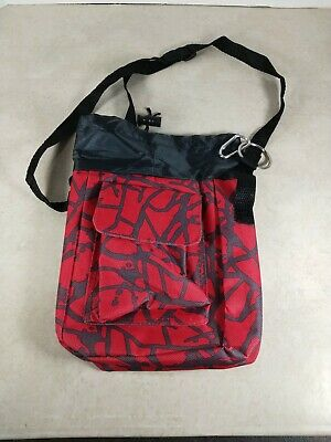 Aarp Red/Gray Canvas Carrier Bag W Straps/Side & Front Pockets/Zip Closure 10""