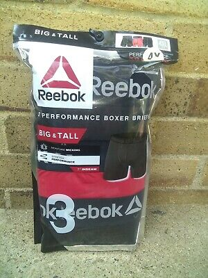 New Reebok Mens Underwear 3 Pack Boxer Briefs Performance Big & Tall 4Xl Xxxxl