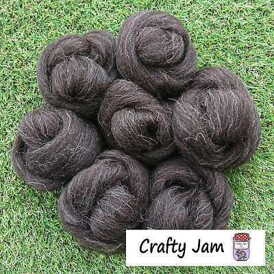 Needle/Wet Felting Natural Black Wool/Roving,good for 3D Projects+Spinning 46.6g