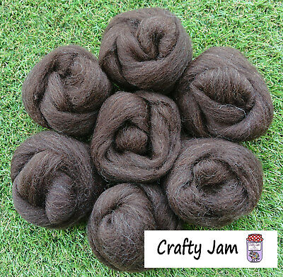 Needle/Wet Felting Natural Dark Brown Wool/Roving, 3D Projects + Spinning 46.6g