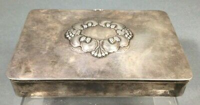 Georg Jensen Sterling Silver Keepsake Cigar Box # 507A Unpolished Org. Patina