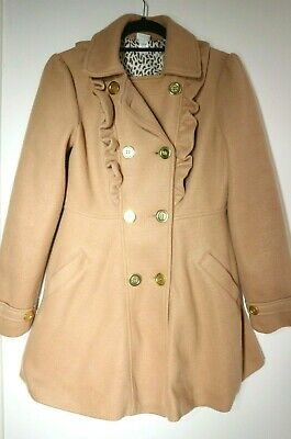 Girls Winter Coat Copper/Tan Colour  Ruffles Double Breasted KYLIE Age 13 Years