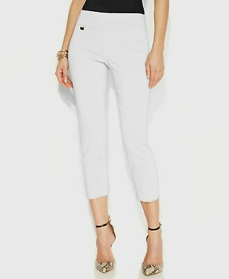 NEW $115 Alfani Womens White Tummy-Control Skinny Leg Stretch Capri Pants Size 8