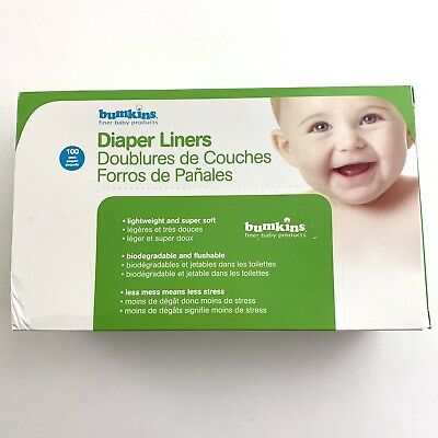 100 Pack Bumkins Flushable Biodegradable Baby Cloth Diaper Nappies Liner Tissues