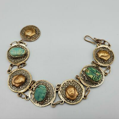 1930s Egyptian Revival Scarab Faience and Copper Pharoah Circle Link Bracelet 9""