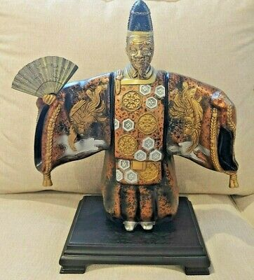 """Vintage Japanese Okimono of a Shinto Priest Statue 12"""" Complete - Rooster"""